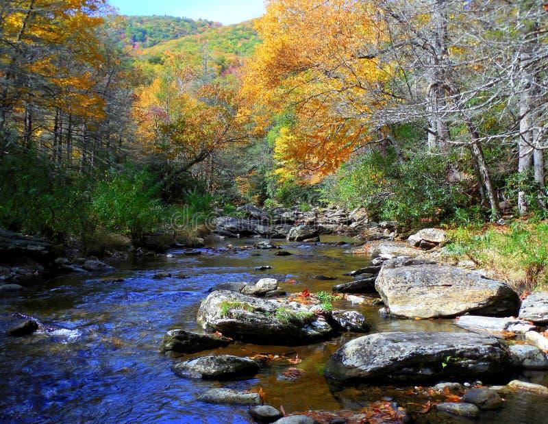 秋天的北卡罗来纳阿巴拉契亚山脉与河 库存照片