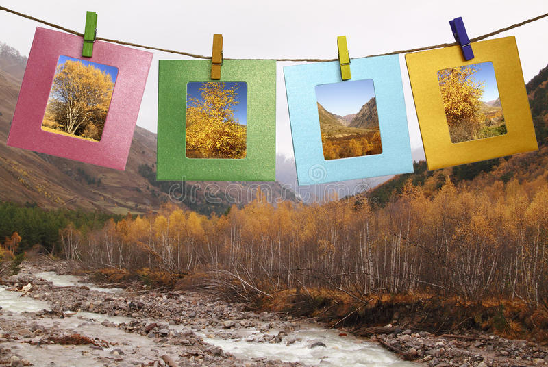 秋天的美好的图片在框架的 免版税库存照片