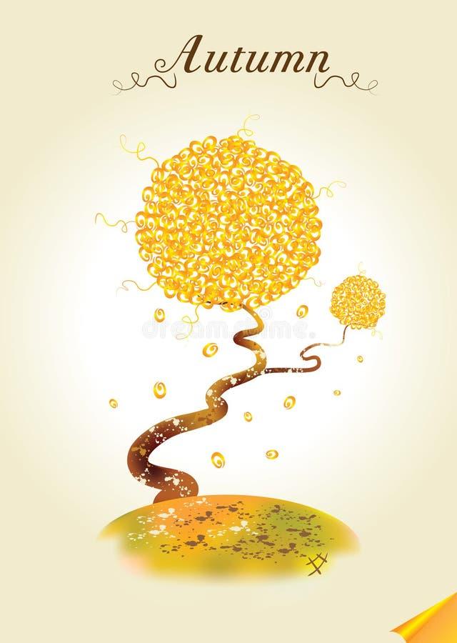 秋天看板卡结构树 皇族释放例证