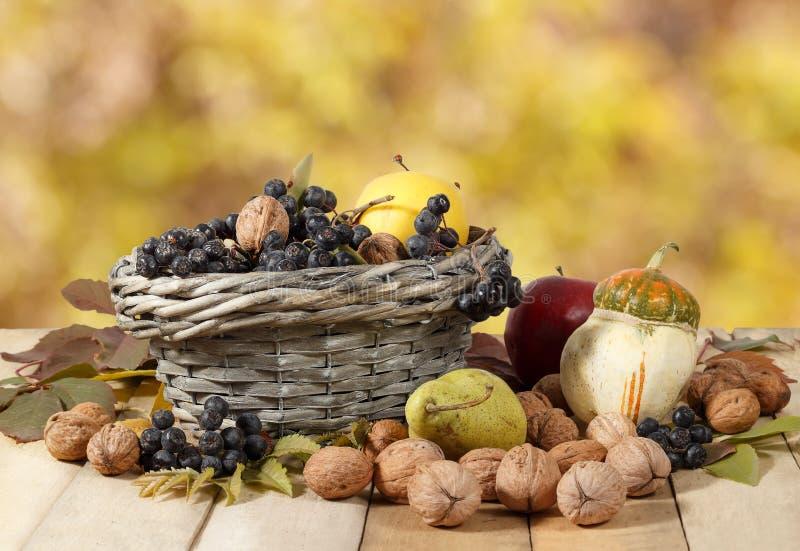 秋天礼物:核桃, aronia,苹果,梨,南瓜在木桌上和在黄色叶子背景的一个柳条筐 免版税库存图片