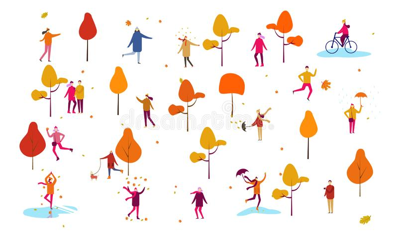 秋天秋天感恩人室外家庭动画片传染媒介例证场面集合,人妇女夫妇孩子走与 向量例证
