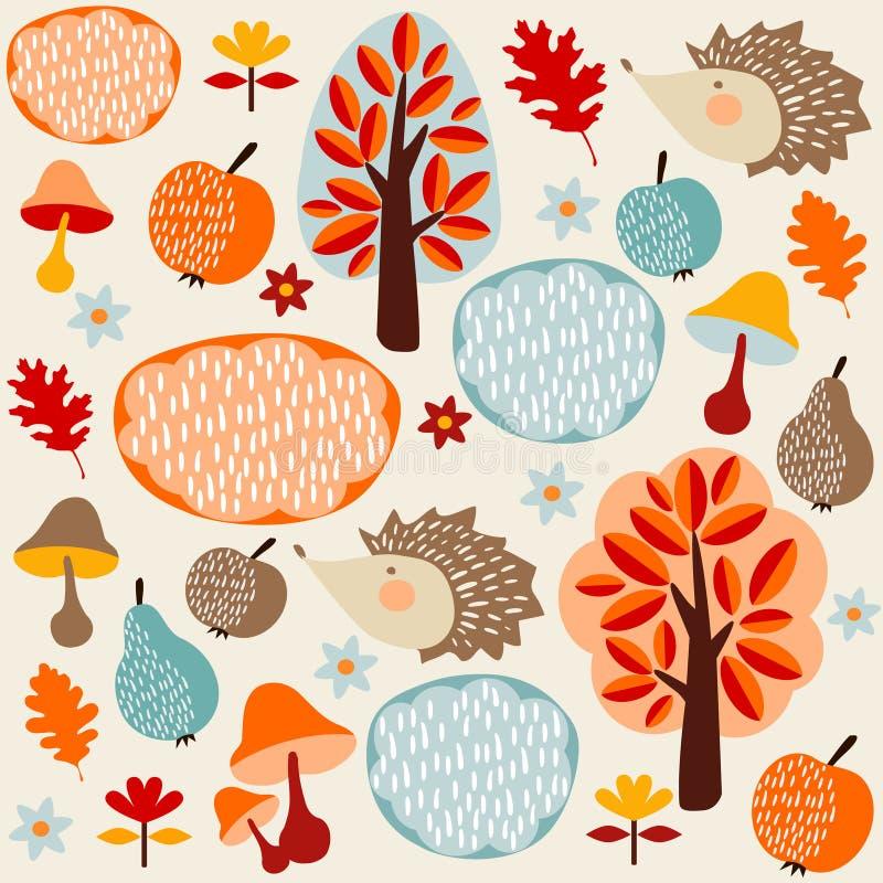 秋天秋天无缝的样式用果子,猬,树 库存例证