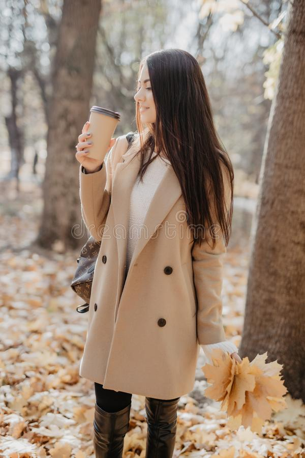 秋天秋天概念 美女饮用的咖啡在秋叶下的秋天公园 金黄秋天公园 免版税库存图片