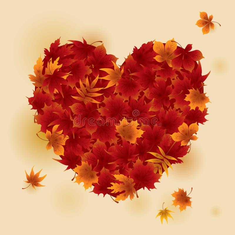 秋天红槭离开心脏 皇族释放例证