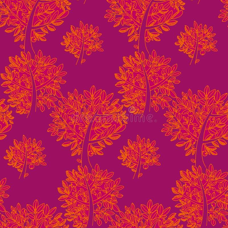 秋天红色和橙树和叶子 皇族释放例证