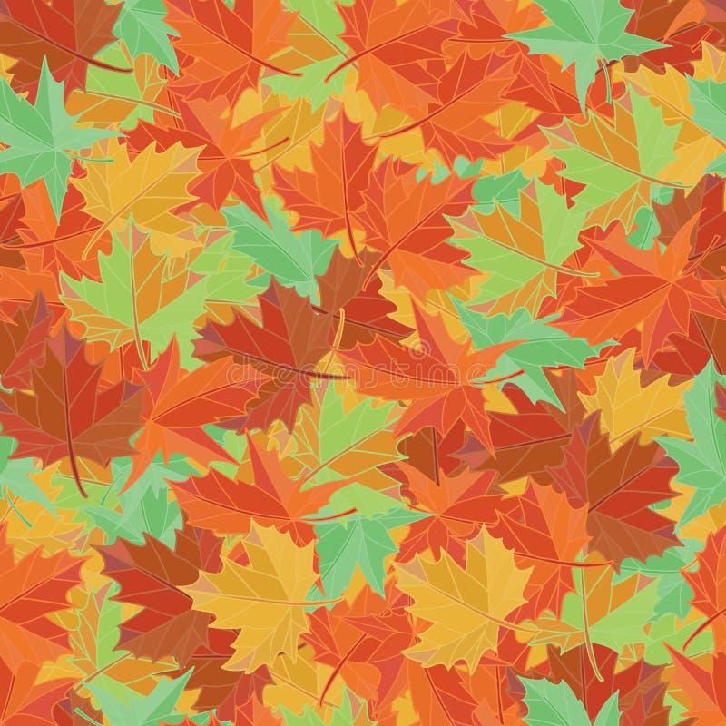 秋天纺织品传染媒介 枫叶无缝的样式 背景美好的叶子例证向量 向量例证