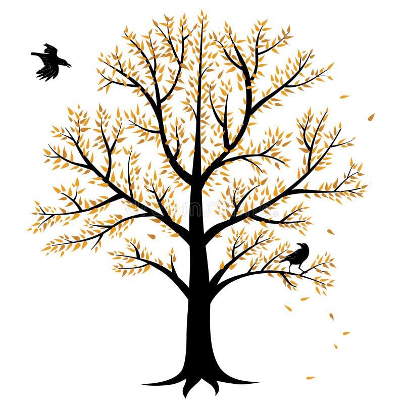 秋天结构树和乌鸦 库存例证
