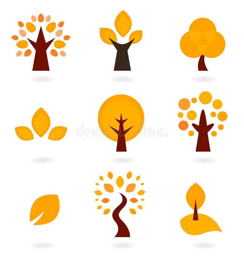 秋天结构树图标 向量例证