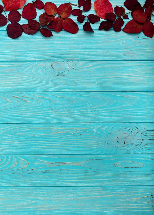 秋天绯红色平的位置框架在木背景离开 免版税库存照片