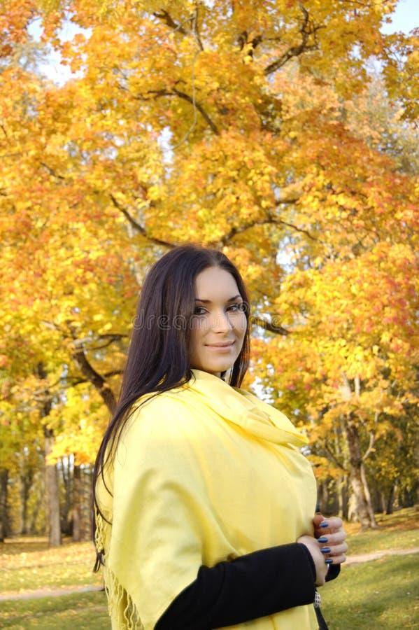 秋天美丽的五颜六色的森林女孩 免版税库存照片