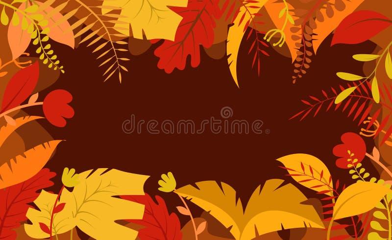 秋天背景、树纸叶子、黄色背景、设计秋季销售横幅的,海报或者感恩节问候 皇族释放例证