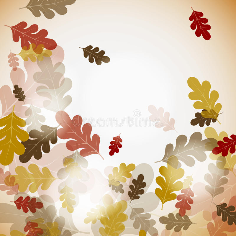 秋天背景橡木 库存例证