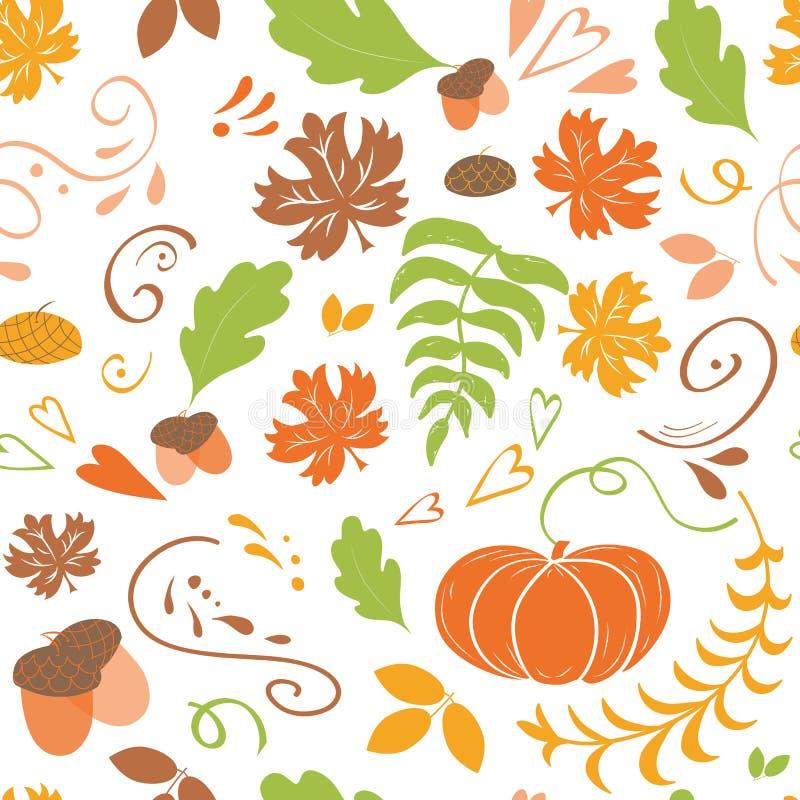 秋天背景特写镜头上色常春藤叶子橙红 落的五颜六色的槭树的无缝的样式留下南瓜 库存例证