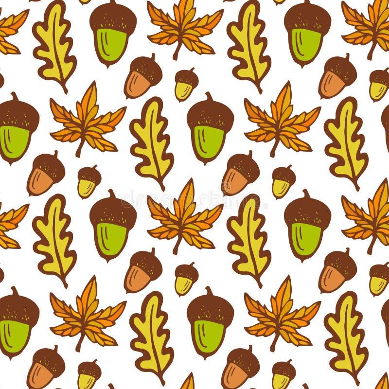 秋天背景特写镜头上色常春藤叶子橙红 与橡子和槭树,橡木叶子的无缝的样式 拉长的现有量向量 皇族释放例证