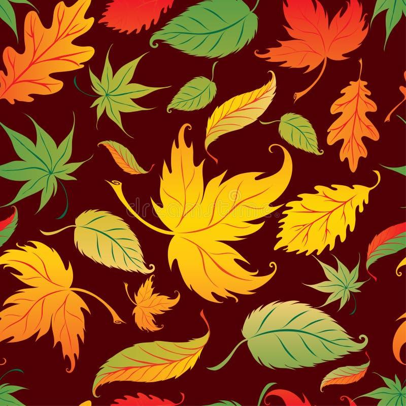 秋天背景生叶无缝的向量