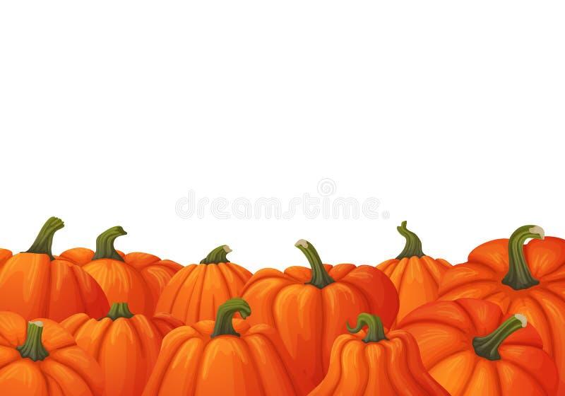秋天背景用与绿色词根的成熟橙色南瓜 库存例证