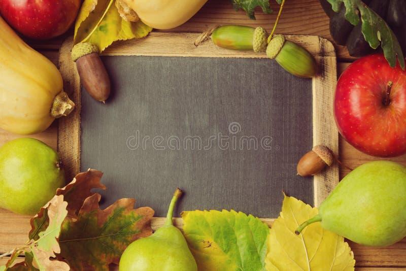 秋天背景用果子和叶子 免版税图库摄影