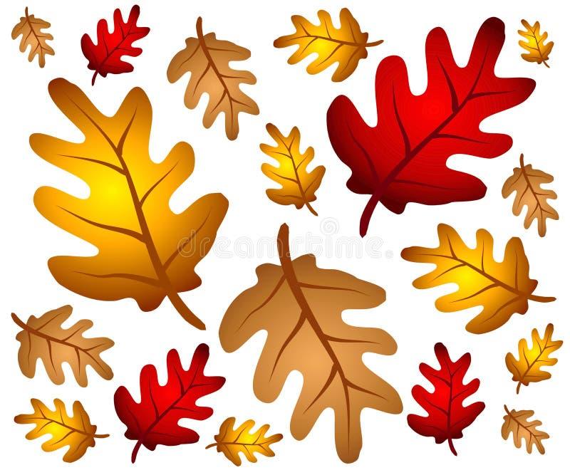 秋天背景离开橡木 库存例证
