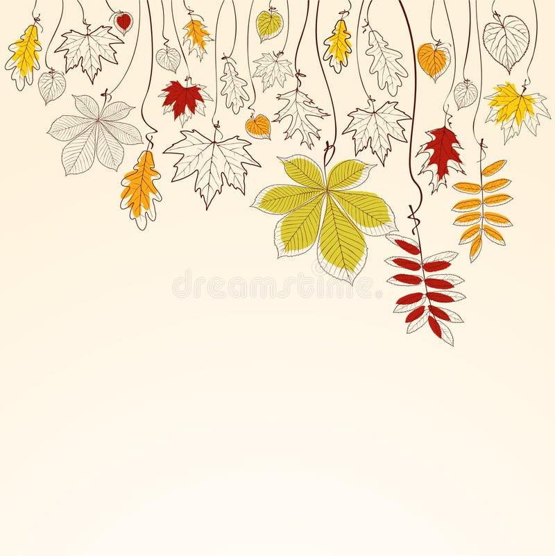 秋天背景落的叶子 向量例证