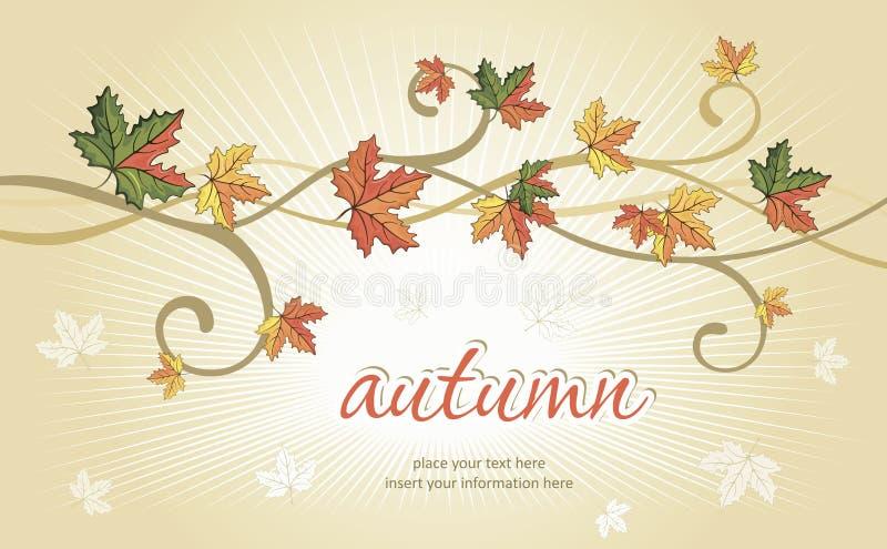 秋天背景落的叶子 库存例证