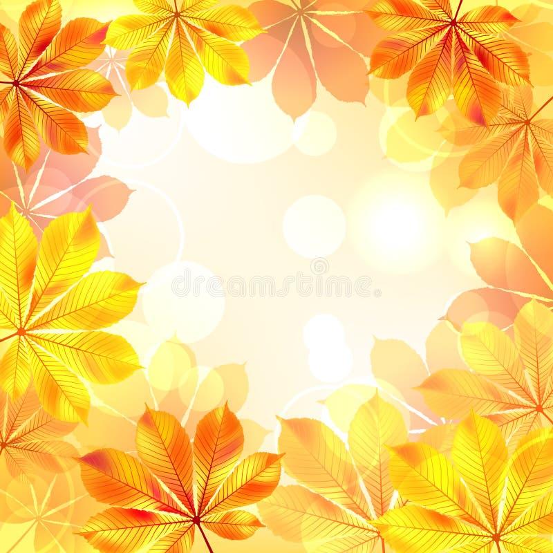 秋天背景离开黄色 向量例证