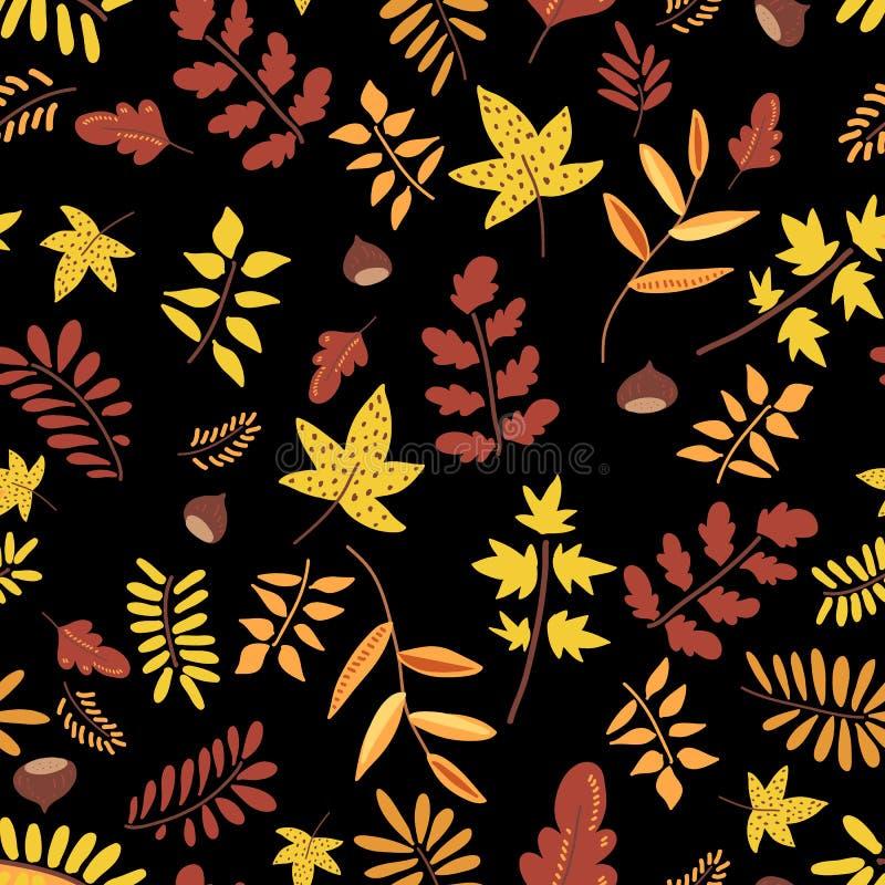 秋天自然无缝的样式 红色和黄色叶子,橡子,栗子,枝杈秋天背景  库存例证