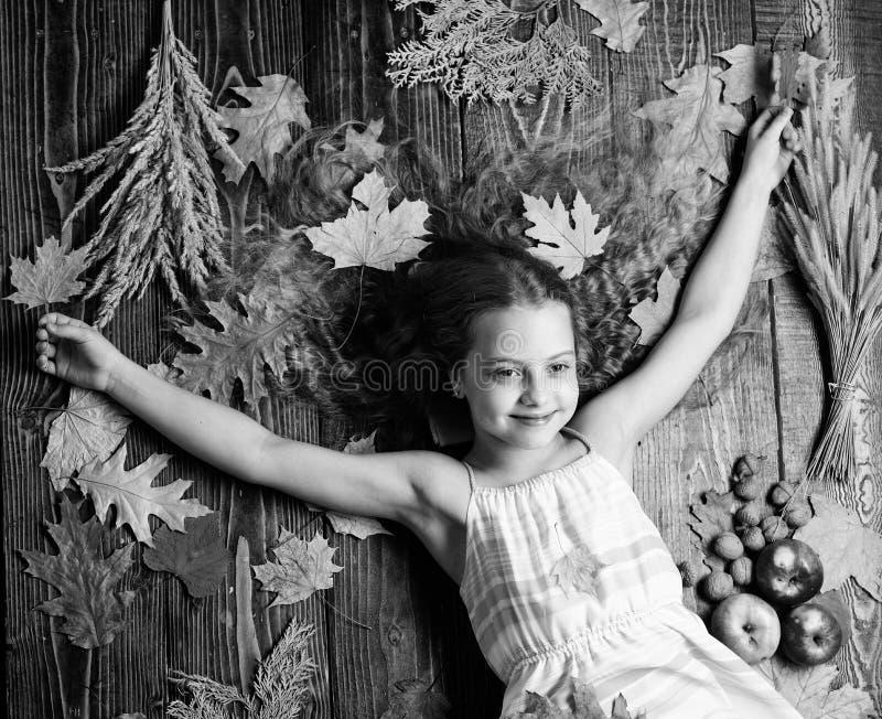 秋天舒适  转动的秋天的技巧到最佳的季节里 孩子女孩笑容放松木背景 免版税库存照片