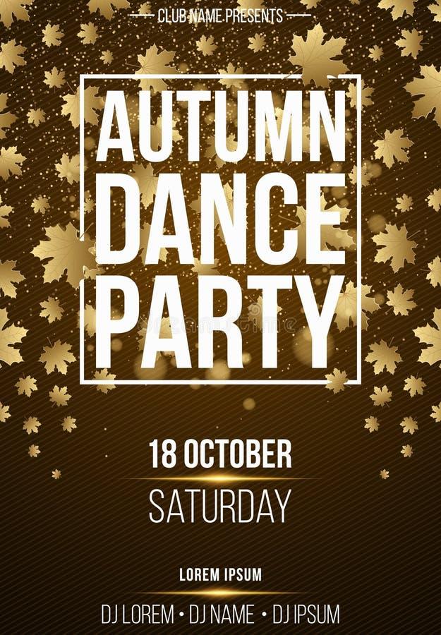 秋天舞会的背景垂直的海报 与金黄尘土摘要黄灯的白色横幅 9个秋天颜色 季节性p 皇族释放例证