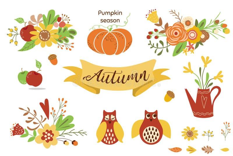 秋天花卉集合 秋天花卉clipart花猫头鹰南瓜苹果百花香传染媒介的五颜六色的花卉元素 向量例证