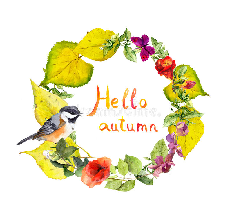 秋天花圈-鸟,花,黄色离开 花卉水彩边界 免版税库存照片