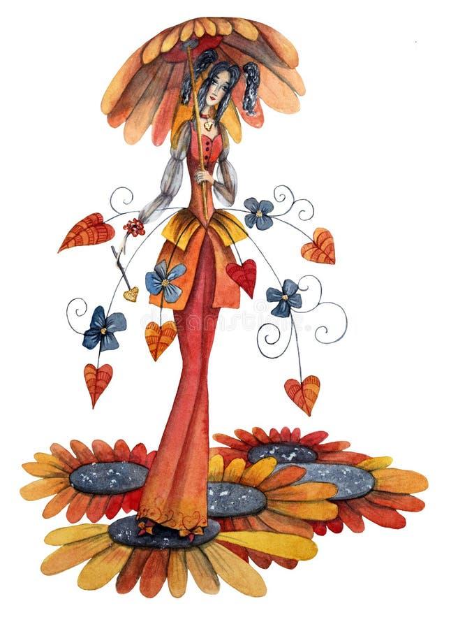 秋天花的神仙 皇族释放例证