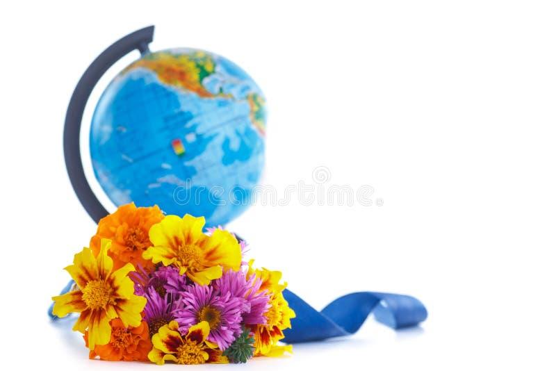 秋天花花束与地球的 库存图片