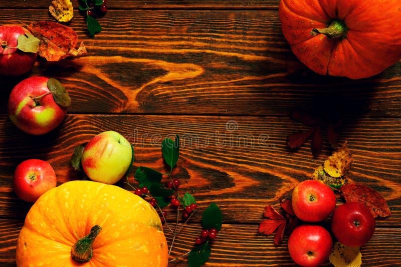 秋天菜、南瓜用红色苹果和核桃在掠过的木背景 库存照片