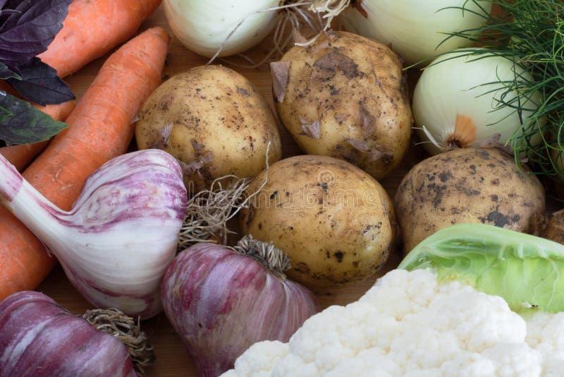 秋天菜的收获、构成,土豆和大蒜在红萝卜和葱旁边 库存图片