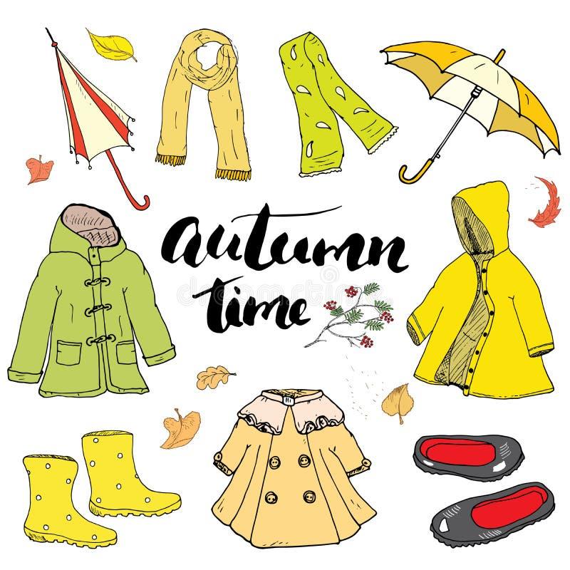 秋天被设置的季节衣裳 手拉的乱画和字法传染媒介例证 库存例证