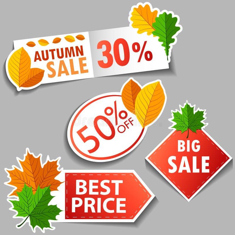 秋天被设置的销售贴纸 向量例证