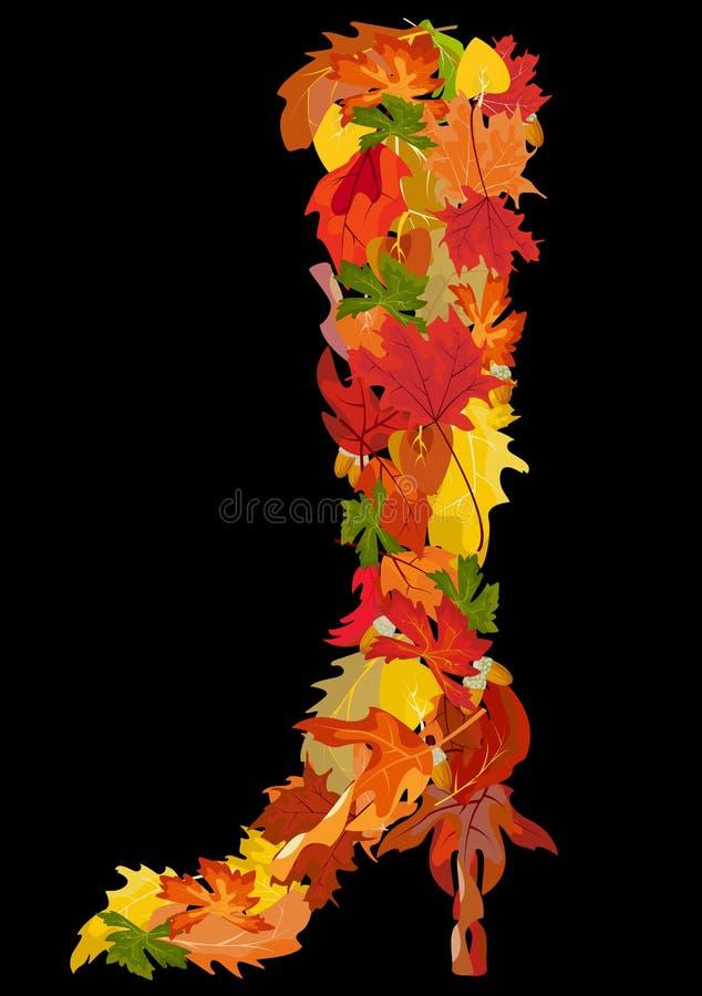 秋天装饰鞋子向量 向量例证