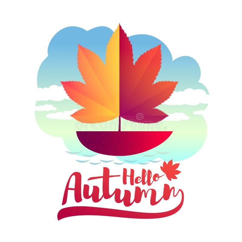 秋天设计例证向量 有一个风帆的一条小船以秋天叶子的形式 库存例证