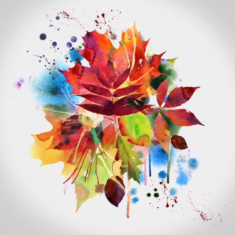 秋天设计花卉绘画水彩 向量例证