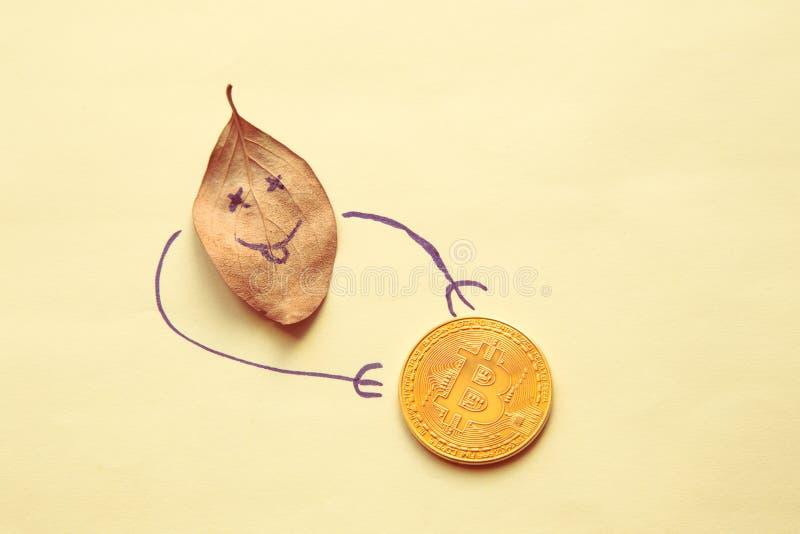 秋天财政概念:有面带笑容和金黄bitcoin的下落的叶子 免版税图库摄影