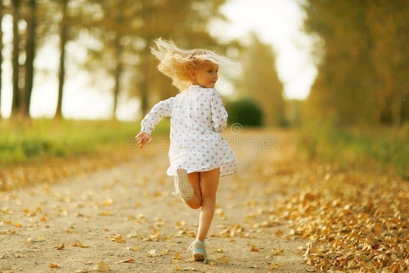 秋天路的快乐的小女孩 免版税库存照片