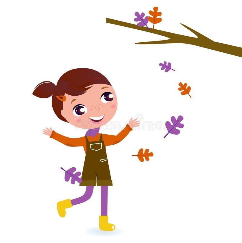 秋天逗人喜爱的女孩查出空白的一点 向量例证