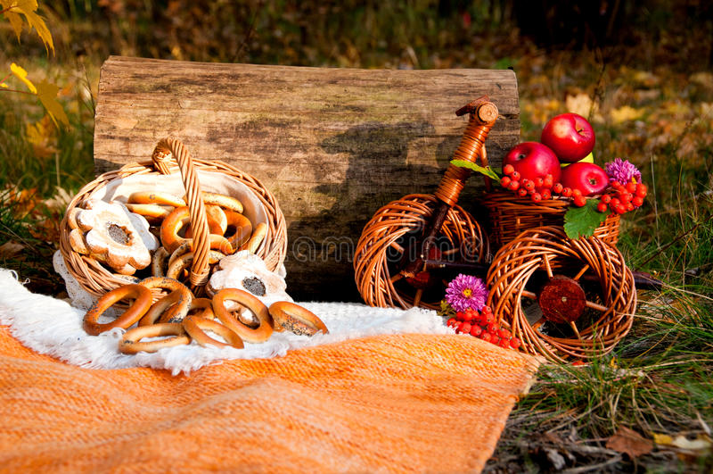秋天野餐: 百吉卷和苹果篮子在一辆柳条自行车的 免版税图库摄影