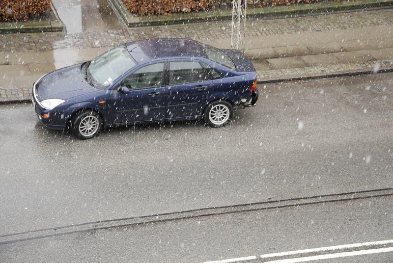 秋天铁路剪影雪跟踪培训隐晦 库存照片