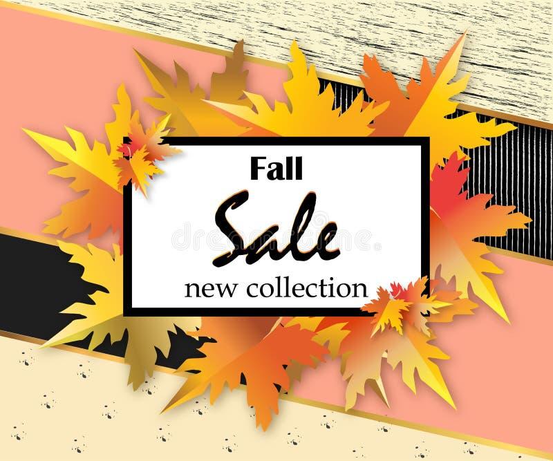 秋天销售与字法,桔子的飞行物模板在现代抽象背景离开 秋天促进 海报,横幅 库存例证