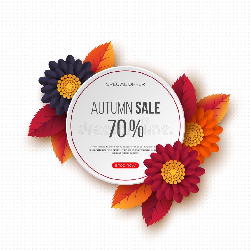 秋天销售回合与3d叶子、花和光点图形的横幅 白色背景-季节性折扣的模板 皇族释放例证
