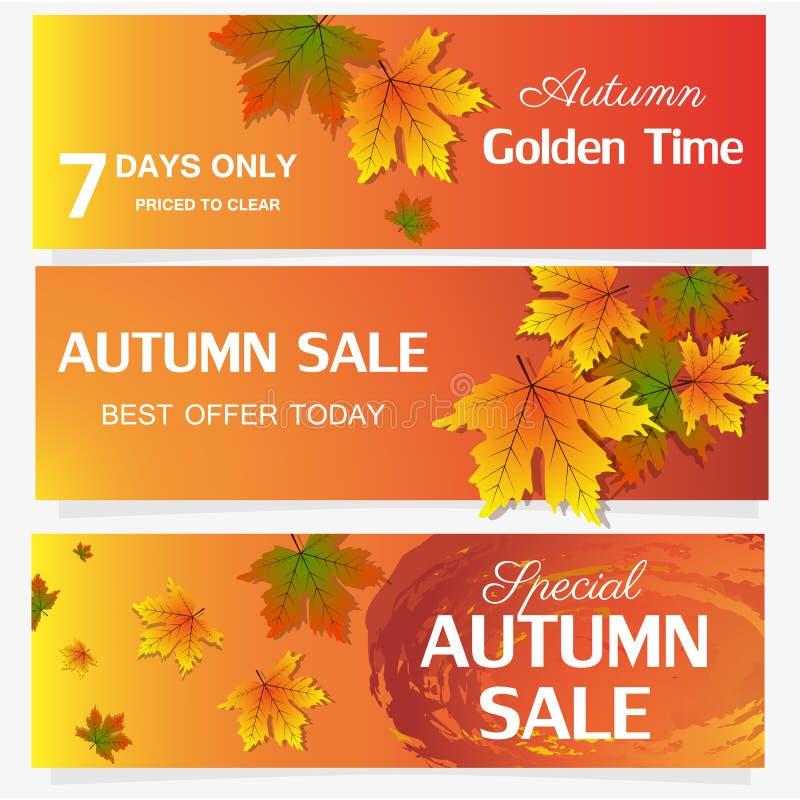 秋天销售横幅季节叶子卡片自然背景设计传染媒介例证 向量例证
