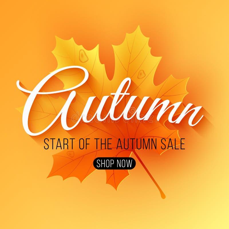 秋天销售 季节性背景 有文本的枫叶 季节性销售的开始与大折扣的 r 向量例证