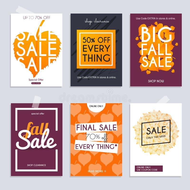 秋天销售 设置与折扣提议的媒介横幅 购物backg 向量例证