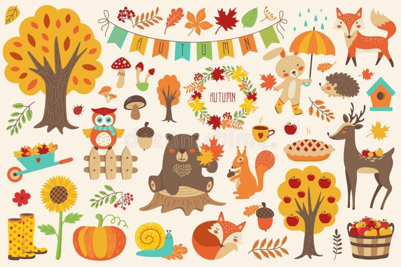 秋天集合,与森林动物的手拉的元素 库存例证